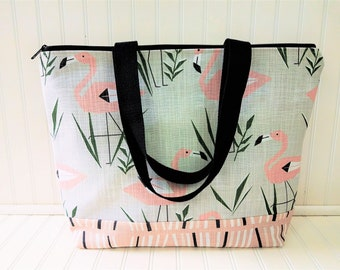Flamingo Bag -Flamingo Beach Bag - Flamingo Tote - Flamingo Tote Bag - Flamingo Beach Tote - Flamingo bag with Zipper