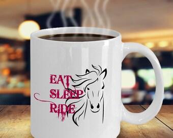 Horse Lover Coffee Mug - Eat Sleep Ride - Cowboy Cup