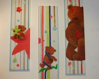Triptych on canvas 50cm x15cm Teddy bear
