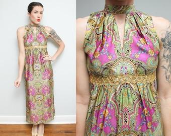 60s Sleeveless Floral Dress // 1960s Mod Keyhole Neckline Maxi Dress // Pink Green Psychedelic Tank Boho Hippie Size 3 4 Small