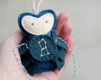 ORION Ornament Felt Owl. Embroidered Zodiac Gift.