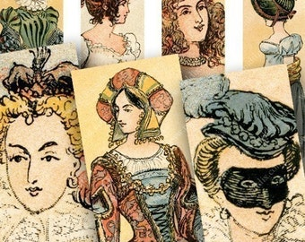 Marie Antoinette and 500 years of French Fashion in 1x3 inches Two for slides and more -- piddix digital collage sheet 619