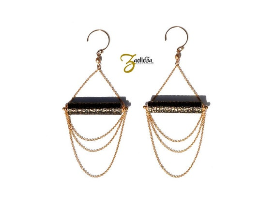 "Black and gold leather strings multi strand Pearl Earrings gold 14K gold filled - Chic Rock chart - model ACAPULCO ""Mexico Collection"""