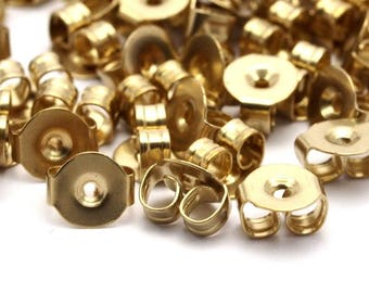 Brass Earring Stud Backs, 250 Raw Brass Earring Studs Back Stoppers (5x4.5mm) Bs1104--a0893