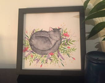 Cat - original watercolor painting