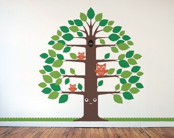 Kids Happy Tree Wall Decal Woodland Owl Baby Nursery Room Decor