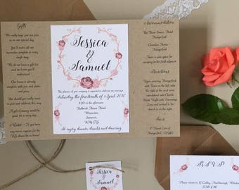 Rustic Wedding // Invitation and Bundles // Folded Card // Pocketfold // Lace and Twine