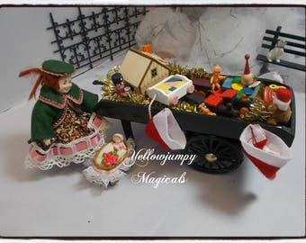 "1/12th dollhouse miniature ""Frost Fair"" Market ""Dinky's Toy Cart"""