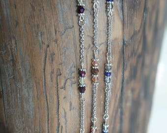 Silver Anklets in Purple, Light Brown, and Blue