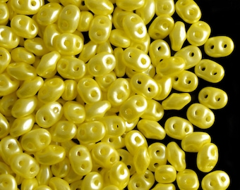 20 gram Czech Glass Two-Hole Seed Beads SuperDuo 2.5x5mm Pastel Yellow (rk5002)