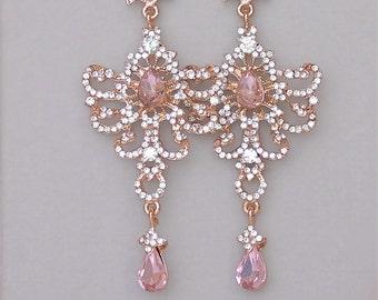 Blush Chandelier Earrings, Rose Gold Bridal Earrings, Long Pink Crystal Earrings, Crystal Statement Earrings, Wedding Jewelry,