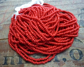 11/0 Seed Bead Opaque Brick Red Size 11 Seed Bead Hank SB1161