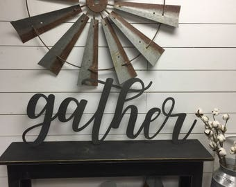 Gather Sign Large-Wood Gather Sign-Rustic-Farmhouse Decor- Wood Sign-Wood Wall Decor-sign-Wood letters-Wood Wall Decor- Home Decor