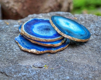 Agate Coaster Set - GOLD or SILVER Edge - Coasters - Set of 4  - Housewarming Gift - Wedding Gift