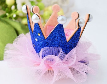 hair Crown Princess Blue Pink Rhinestone glitter tulle and pearls