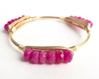 Hot Pink Jade Rondelle Wire Bangle, Bangle, Bracelet, Wire Bangle, Bourbon and Boweties Inspired