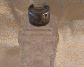 Antique 1880's Silver topped hobnail cut designed perfume bottle