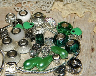 NEW 25/pc Green/white  AS Pictured LOT European Spacer Mixed Beads Charms Paved Crystal large hole beads