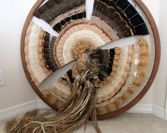 Vintage Woven Wall Hanging / Circular Weaving / Wood Frame / Large Dream Catcher / Hand Made / Hand Woven / LOCAL PICKUP in Colorado