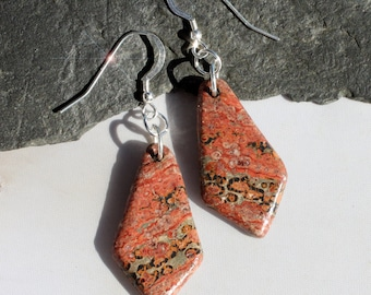 On Safari -  Leopard Skin Jasper and Sterling Silver Earrings