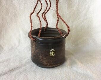 Vintage hanging flowerpot, hanging planter. Van Dijk Ceramics