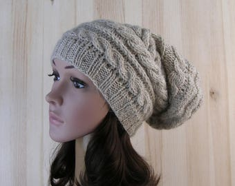 Womens slouchy winter hand knit hat Knitted Beanie Super Beanie Beige Women Hat Chunky slouchy hat