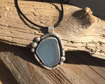 Gorgeous blue sea glass necklace, sterling silver