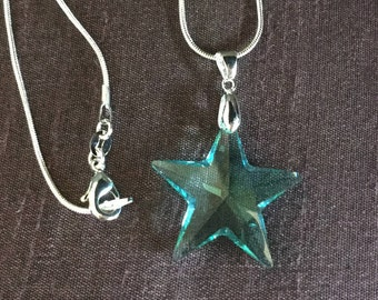Swarovski Crystal Star Pendant with Sterling Silver Snake Chain