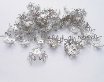 10 large bead caps/bead caps in silver for beads 20 mm max. (9229100)