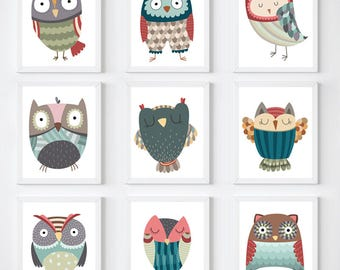 Owls, Nursery, Owls Drawing, Owls Illustrations, Minimalist, Modern, Nursery, Wall Art, Owls Sticker