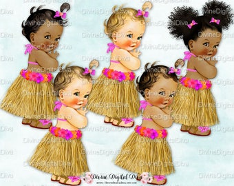 Hawaiian Luau Vintage Baby Girl  | Hot Pink Orange Grass Skirt | 3 Skin Tones  | Clipart Instant Download