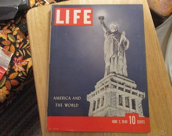 Vintage Life Magazine America And The World June 3 1940 Very Good
