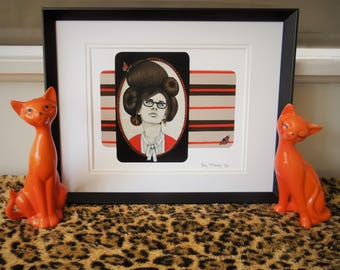 Giclée print by Andy McCready - 'MONICA' - Limited edition, small, butterfly, orange, retro. Prints by giltandenvy on Etsy.