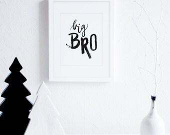 Big Bro Wall Art, Brothers Art Printable, Black and White Little Boys Room Decor, Scandinavian Nursery Wall Art, Modern Kids Art