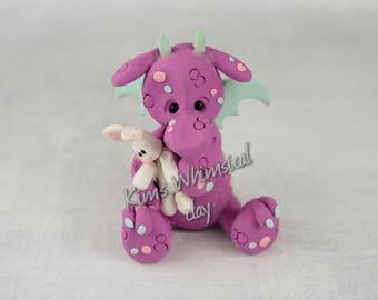 Handmade Polymer Clay Easter Dragon with bunny purple