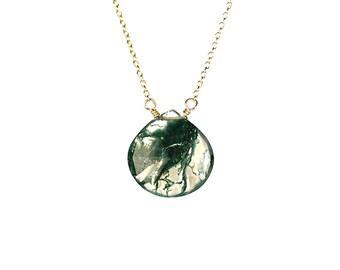 Moss quartz necklace - rutilated quartz - teardrop - a moss green rutilated quartz crystal wire wrapped onto a 14k gold vermeil chain - SALE