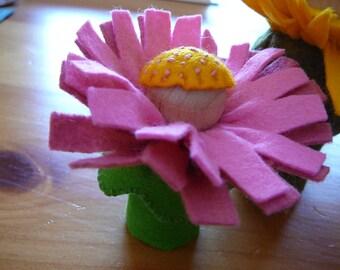 Pink Peg Doll Flower Fairy, Waldorf Inspired, Small Wool Felt Peg Doll Fairy