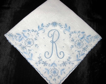 Handkerchief Wedding bride initial something old new borrowed blue monogrammed embroidered letter