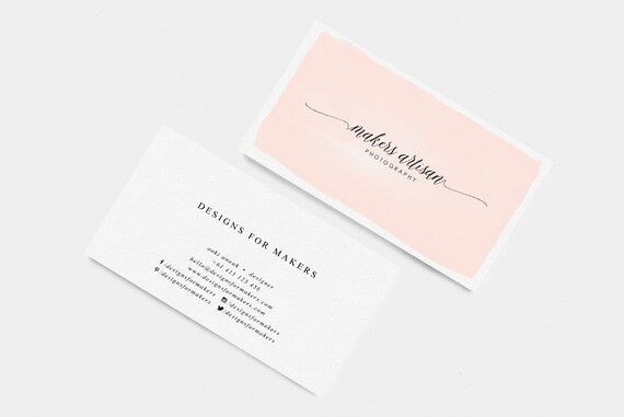 Pink watercolor business card premade business cards