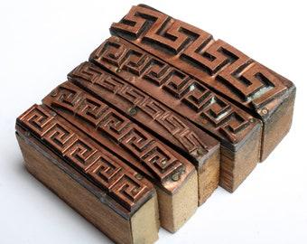 ZIG ZAG Borders 1903-1953 Antique GERMAN Copper Letterpress Cut printing block Greek Labyrinth Pattern