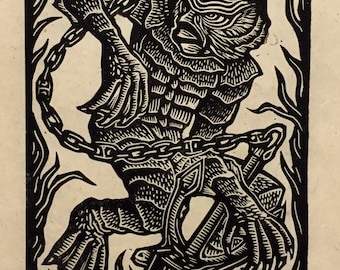 Creature From The Black Lagoon Block Print