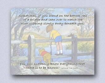 Winnie the Pooh Printable Quote Know Everything Inspirational Art Print Wisdom Knowledge Bottom Bridge Life River Childrens Room Wall Decor