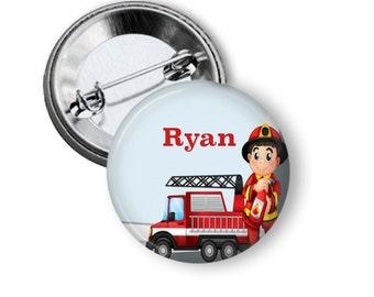 Fireman pinback button badge or fridge magnet