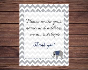 Address an Envelope Sign, Address an Envelope, Please write your name and address on an envelope Navy Elephant Gray Chevron 228 Printable