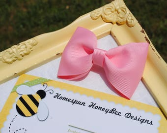 Baby Girls Hair Band Toddler Hair Clip - 3.5 Inch Large Tuxedo Bow Hair Ties for Girls with Thick Hair YOU PICK Color Simple Baby Bow Bowtie