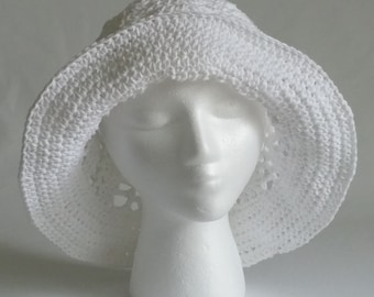 White Cotton Crochet Sun Hat, Cotton Summer Hat, White Crochet Summer Hat, Wide Brimmed Sun Hat, White Cotton Crochet Brimmed Hat