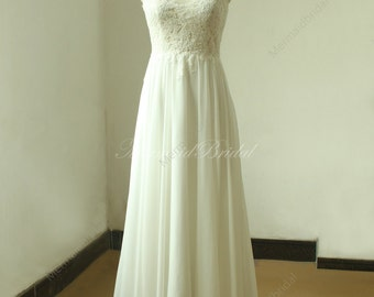 Stunning Backless ivory a line chiffon lace wedding dress with illusion neckline