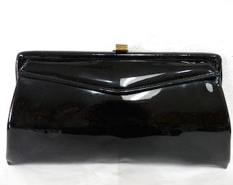 Vintage Glossy Black Purse Garay Handbag Clutch Gold Clasp