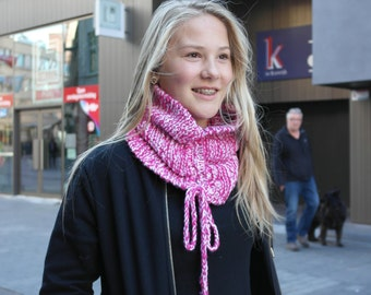 Pink and white striped cowl, pink knit cowl, white knit cowl, pink and white infinity scarf, pink and white, knit cowl, gift for teen girl