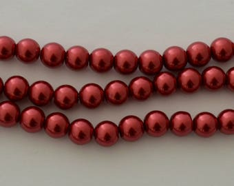 30 beads glass Pearl 10 mm red brick